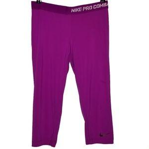 Nike Pro Combat Large Crop Pink Leggings